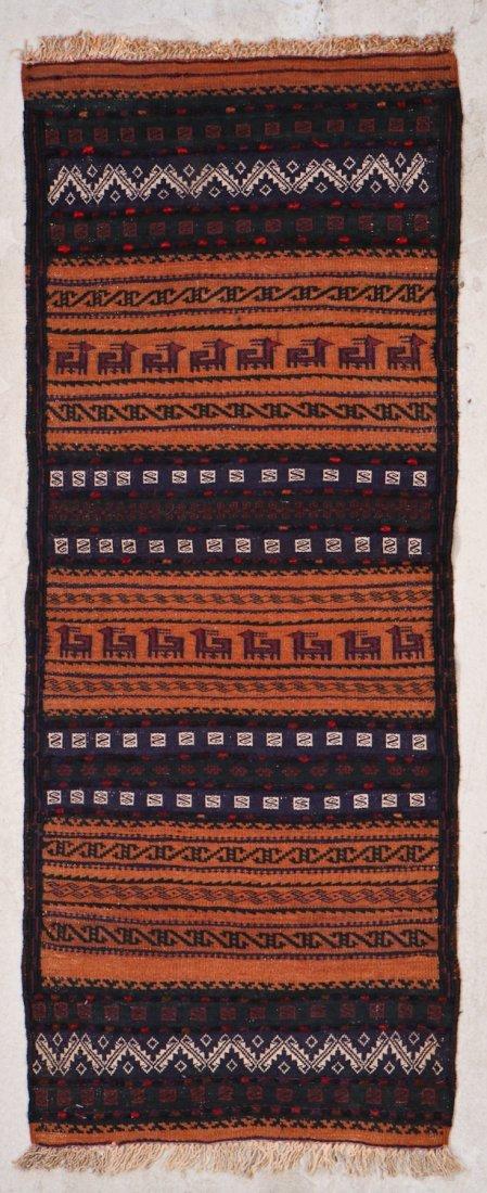 2 Vintage Mixed Weave Afghan Rugs - 3