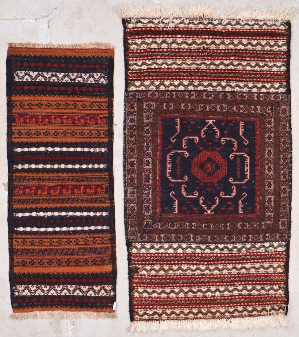 2 Vintage Mixed Weave Afghan Rugs - 9