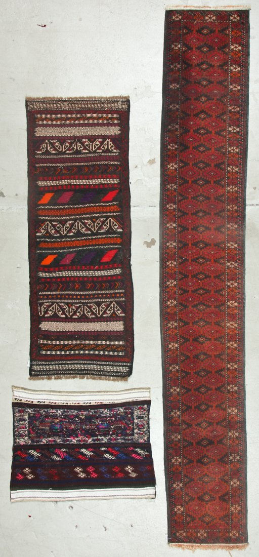 3 Old/Vintage Afghan Flat-Weaves - 9