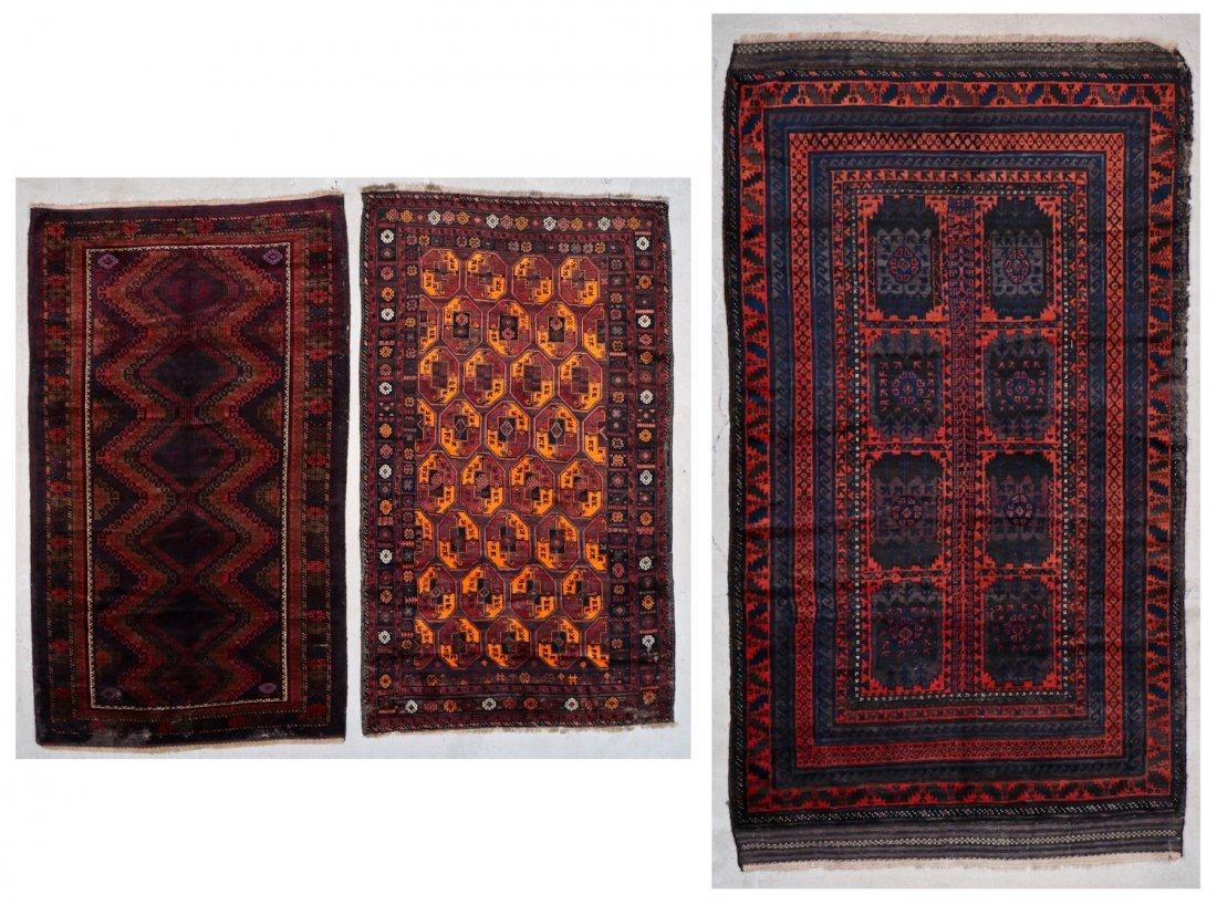 3 Vintage/Semi-Antique Beluch Rugs, Afghanistan