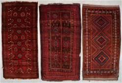 3 Semi-Antique Afghan Beluch Rugs
