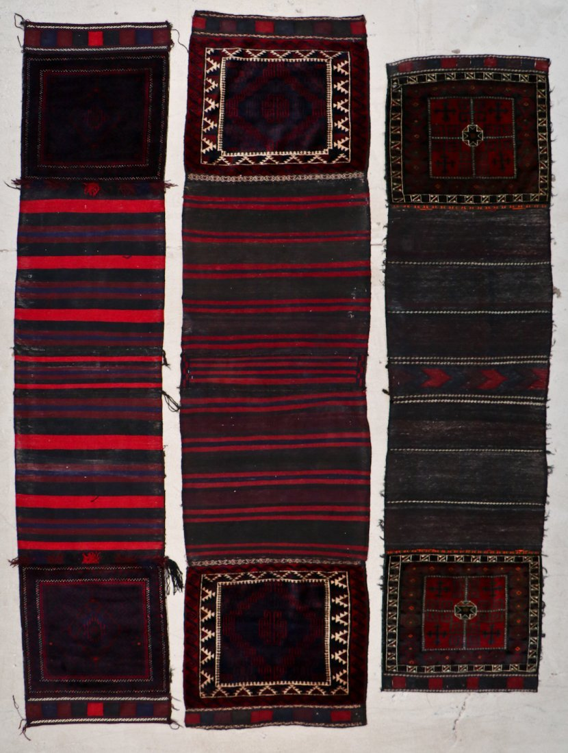 3 Semi-Antique Afghan Beluch Double Saddle Bags