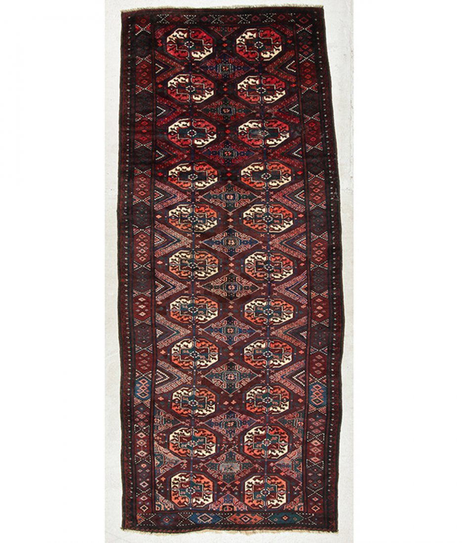 Antique Beluch/Turkmen Rug: 9' x 3'6'' (274 x 107 cm)