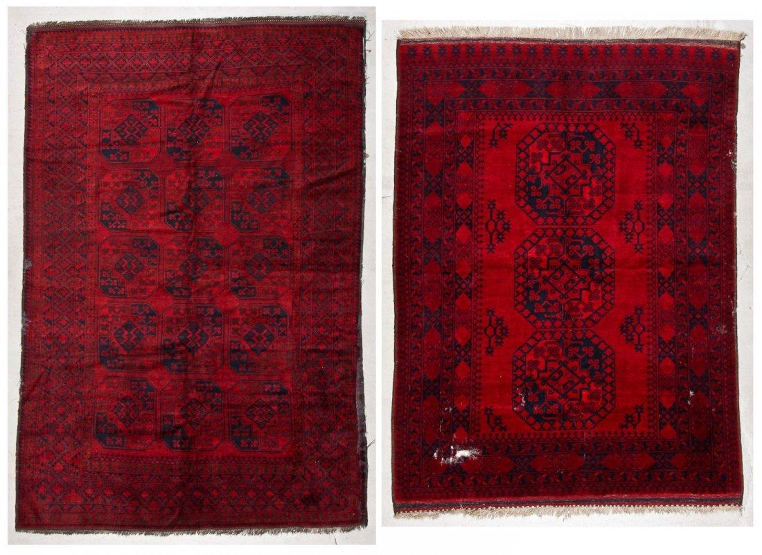 2 Semi-Antique Afghan Main Rugs