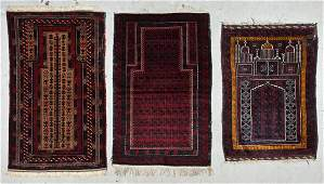 3 Old Afghan Beluch Prayer Rugs