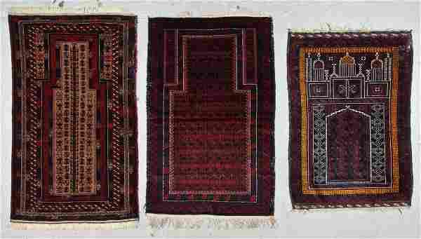3 Old Afghan Beluch Prayer Rugs
