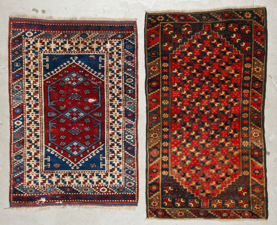 2 Vintage Turkish Village Rugs