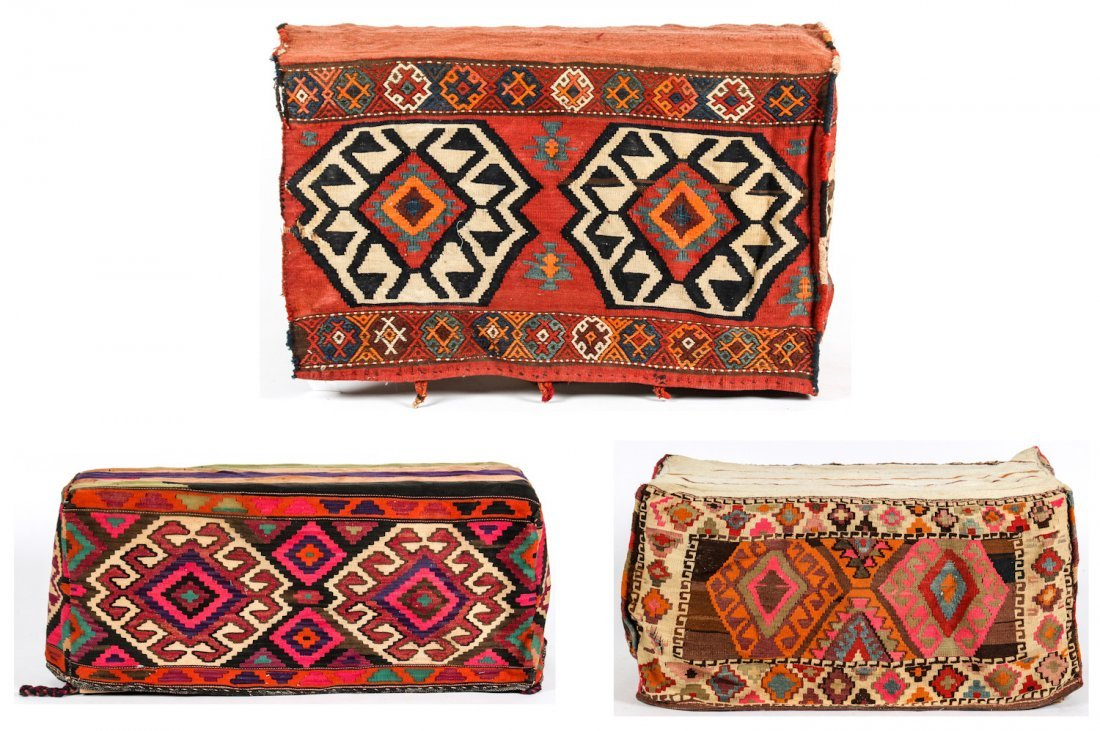 3 Semi-Antique West Persian Kilim Cradles (Besik)