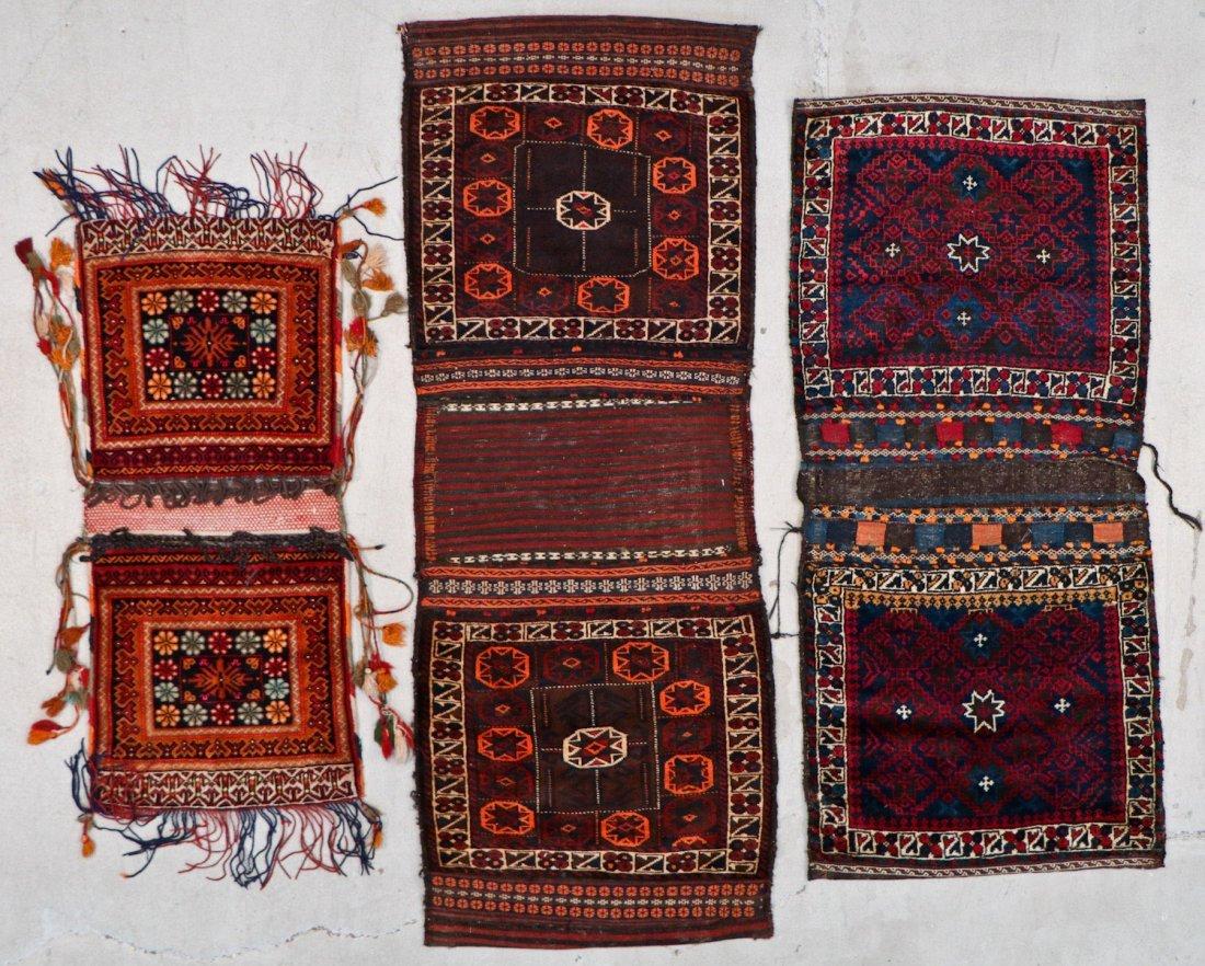 3 Semi-Antique Central Asian Saddlebags
