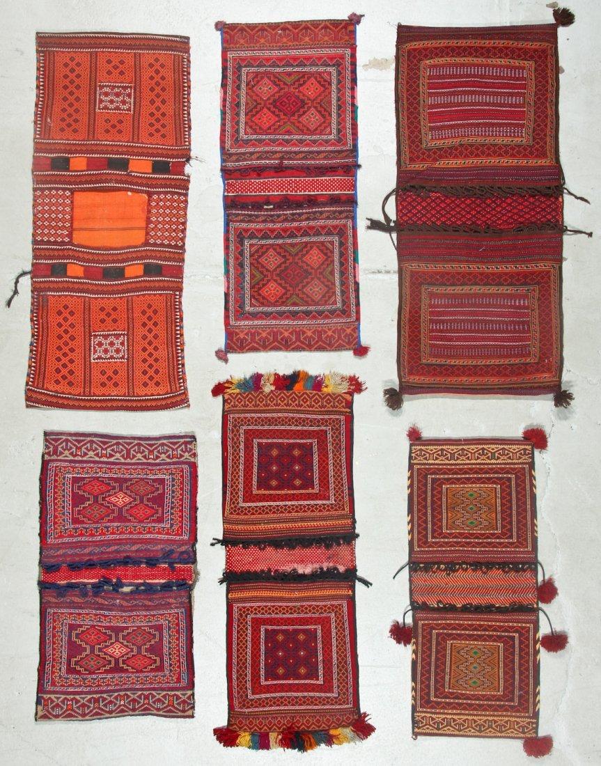 6 Semi-Antique Central Asian Saddlebags