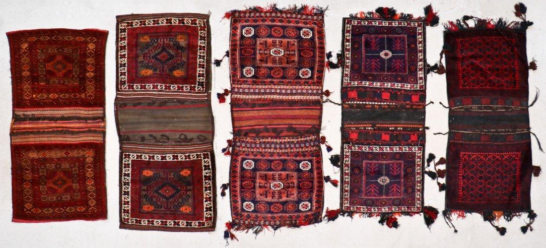 5 Vintage Central Asian & Afghan Beluch Saddlebags