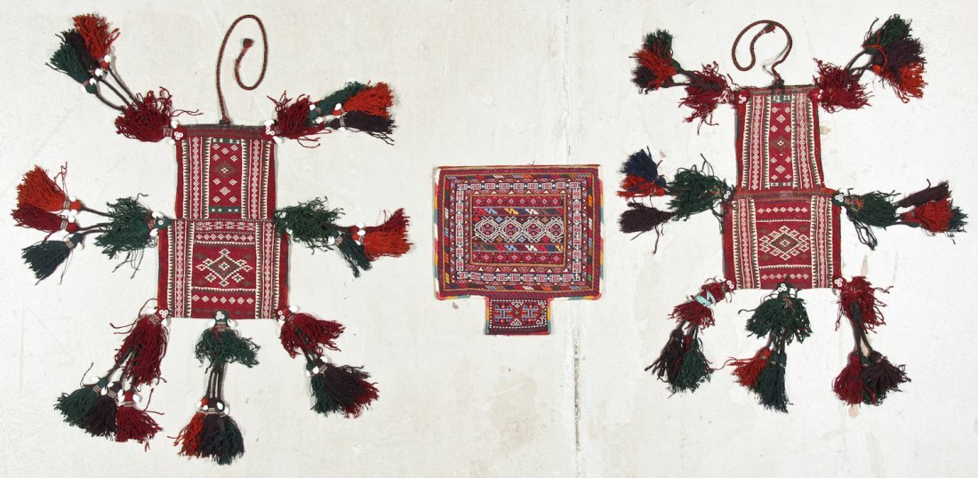 3 Old Central Asian Kilim Bags/Trappings