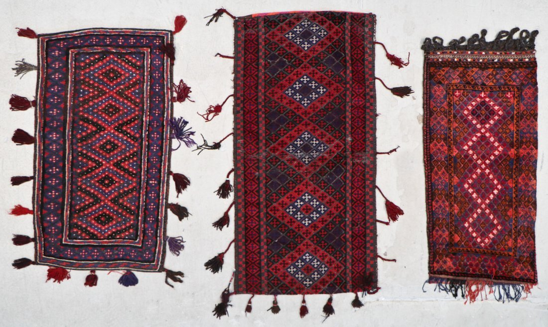 3 Vintage Afghan Mixed Weave Rugs/Trappings
