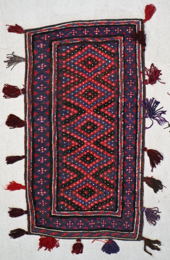 3 Vintage Afghan Mixed Weave Rugs/Trappings - 2