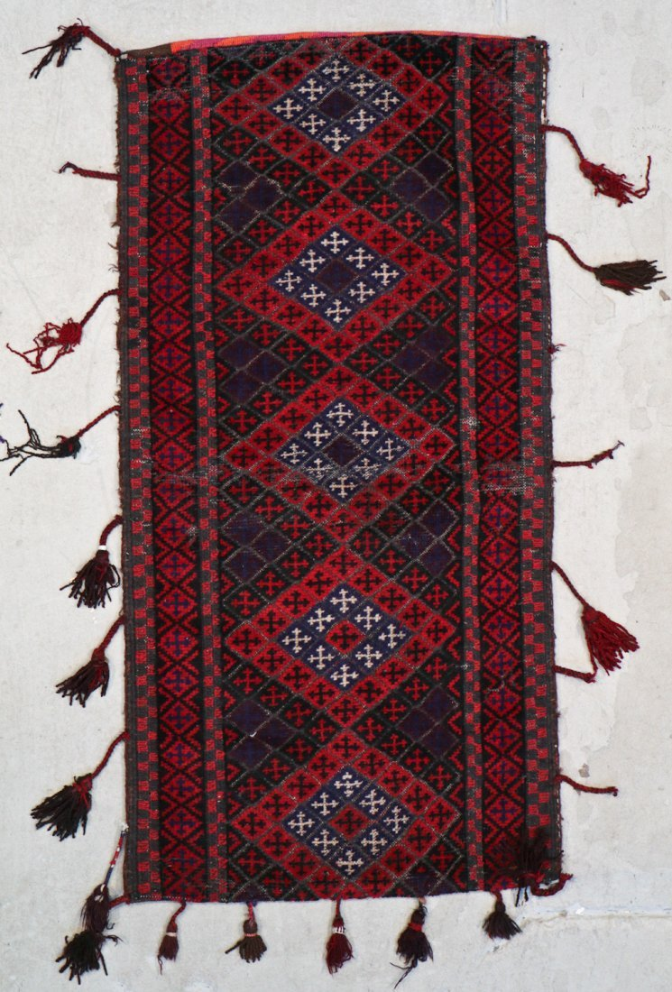 3 Vintage Afghan Mixed Weave Rugs/Trappings - 3