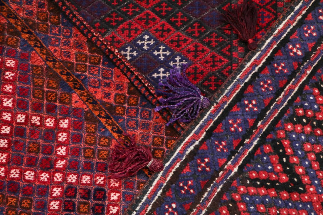 3 Vintage Afghan Mixed Weave Rugs/Trappings - 5