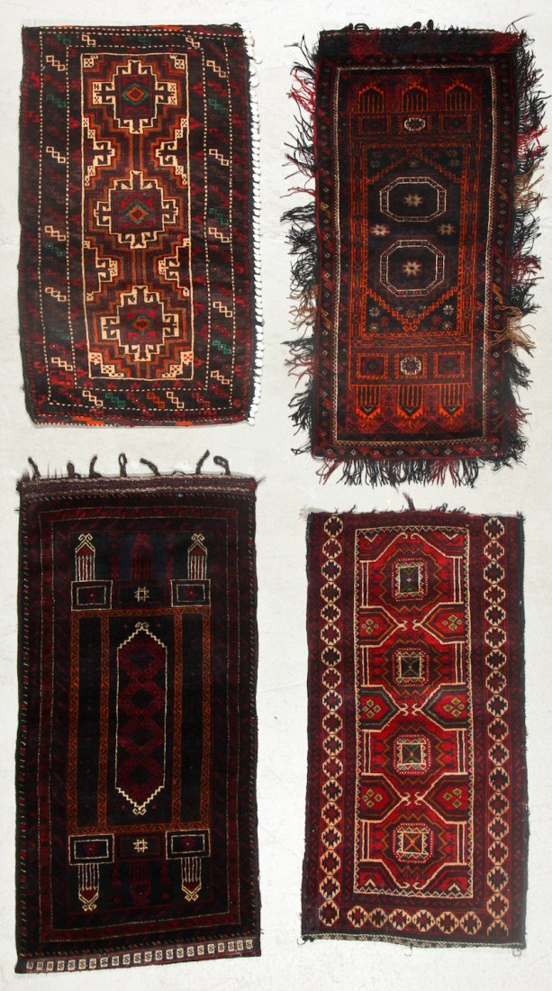 4 Old Afghan Beluch Small Rugs