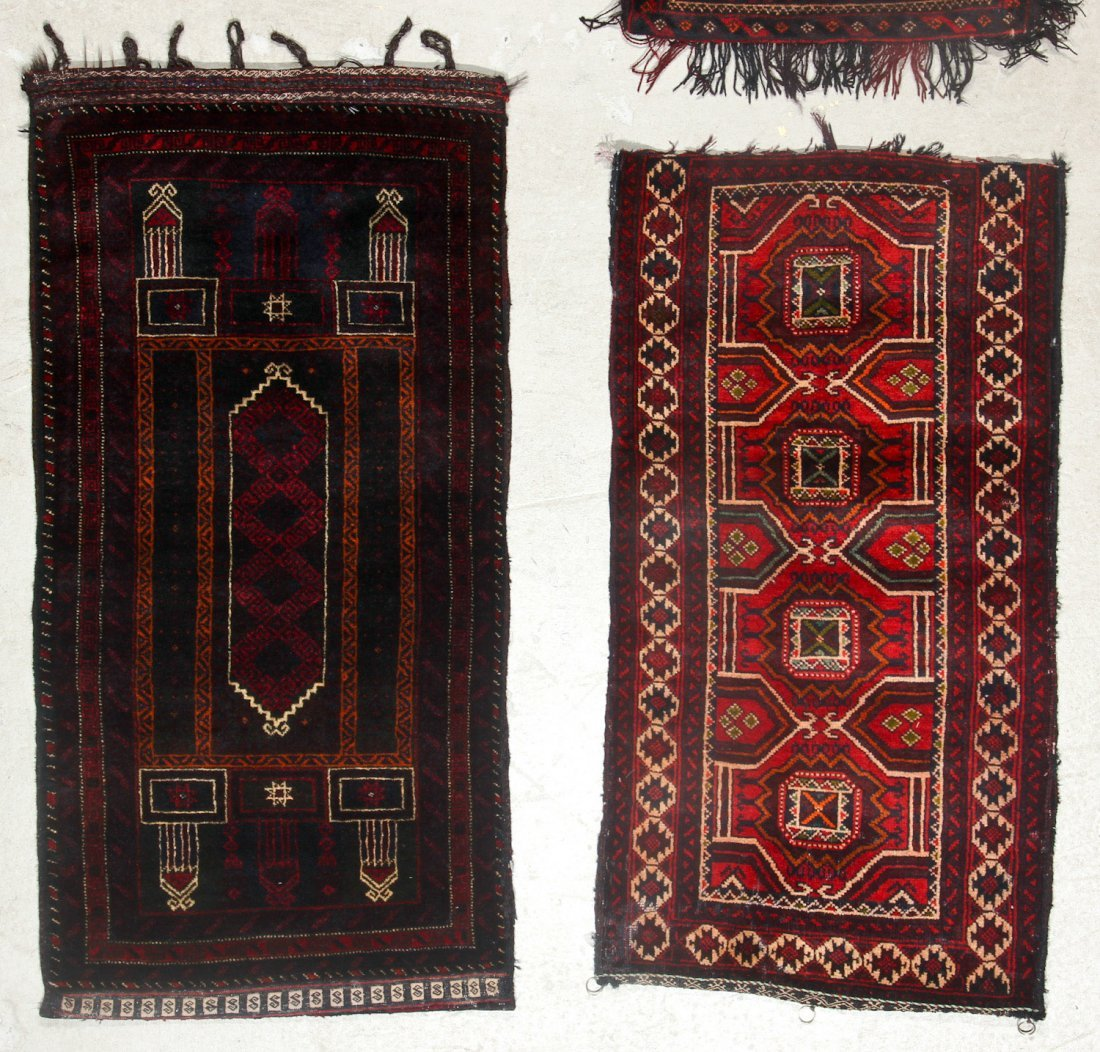 4 Old Afghan Beluch Small Rugs - 3
