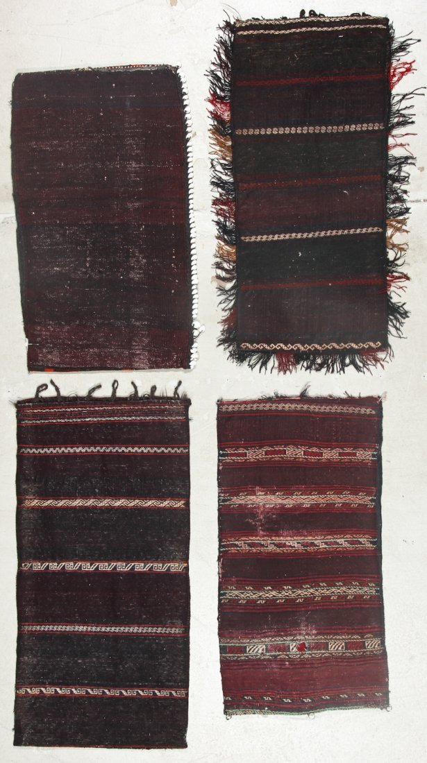 4 Old Afghan Beluch Small Rugs - 6