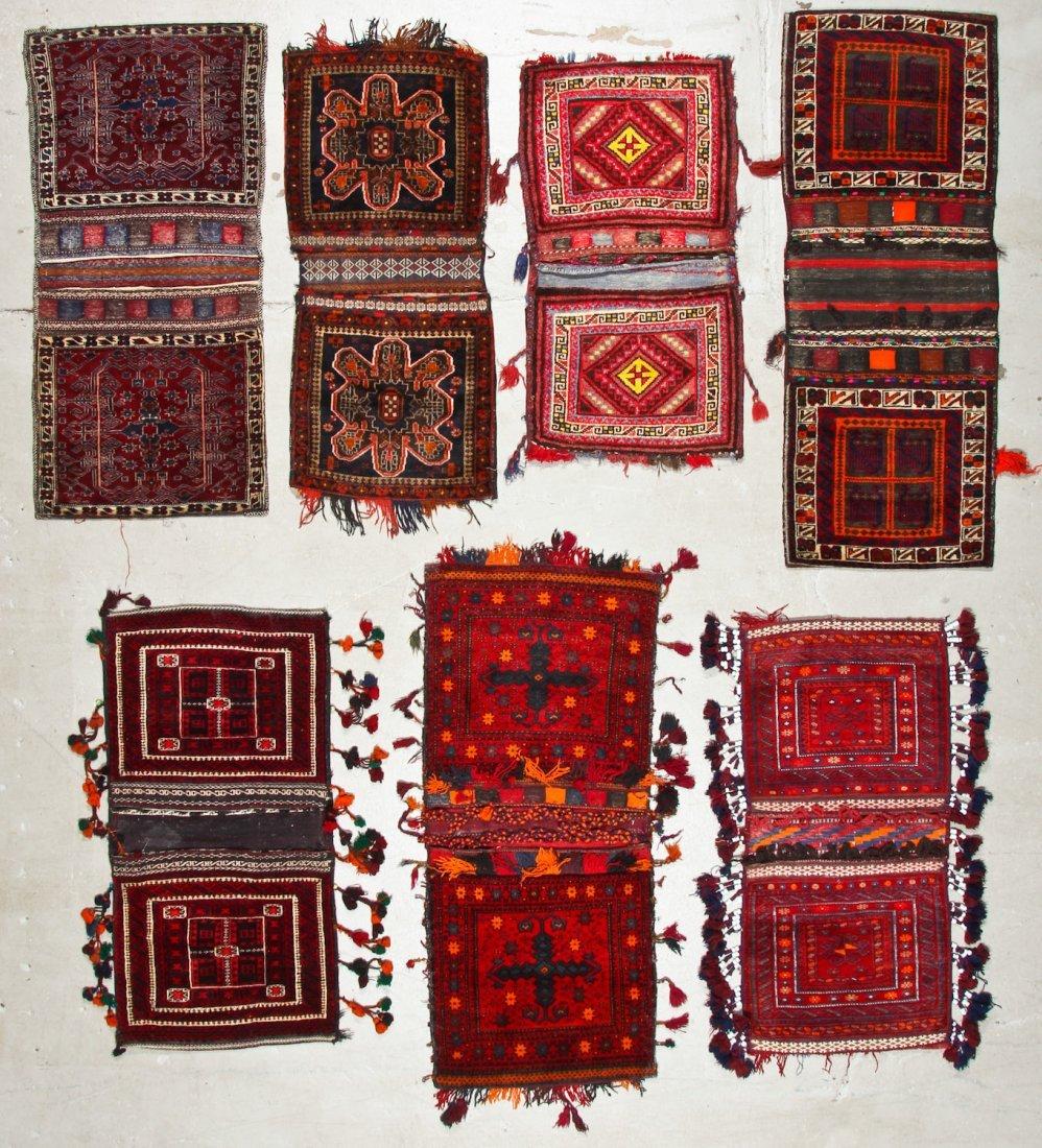 7 Vintage Central Asian/Afghan Double Saddlebags