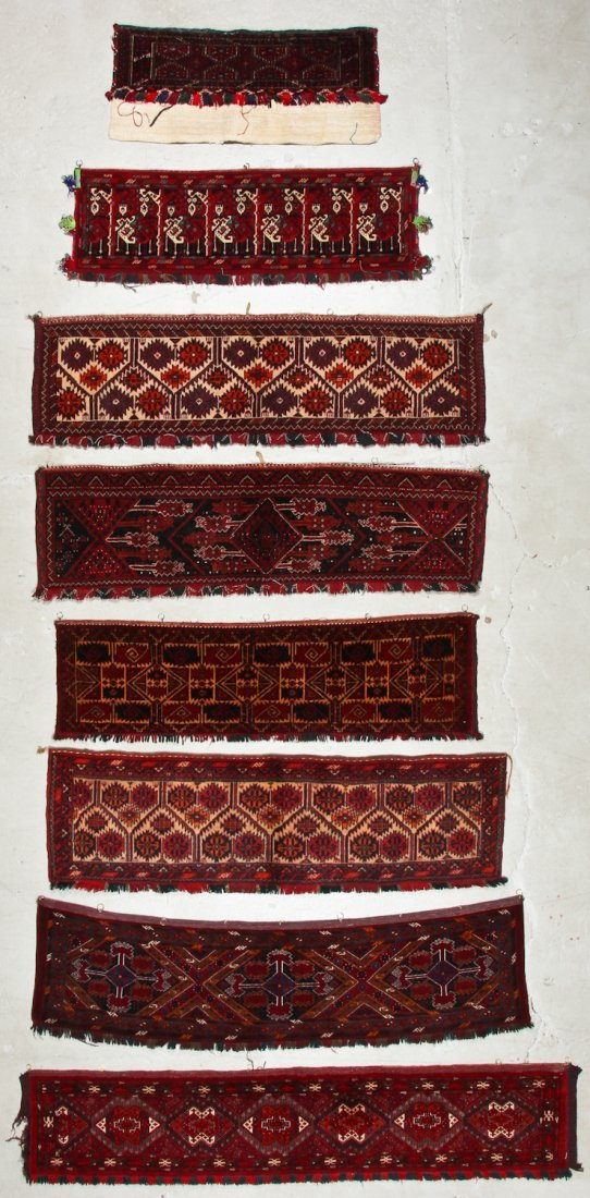 8 Old Central Asian Turkmen Trappings/Rugs