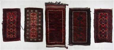 5 Semi-Antique Afghan Beluch Rugs