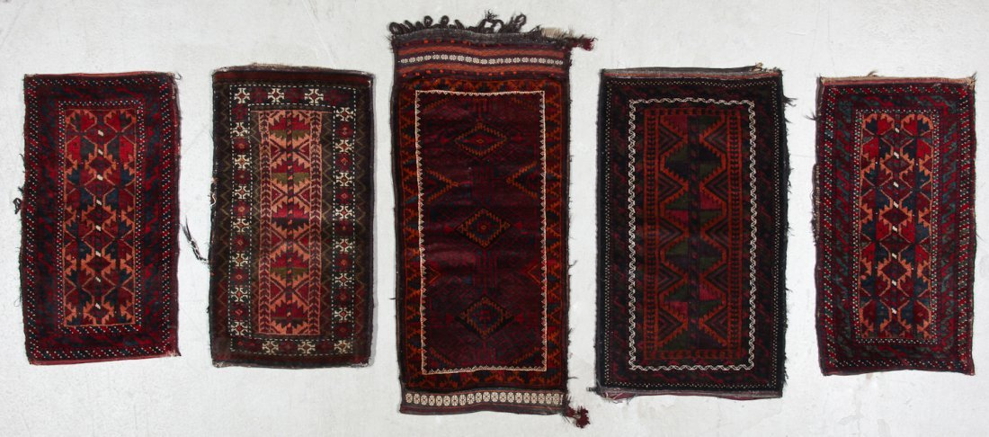 5 Semi-Antique Afghan Beluch Rugs