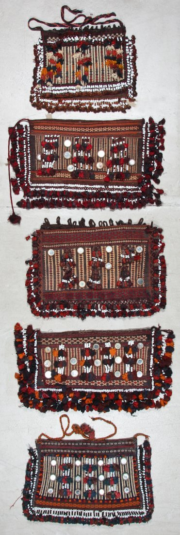 5 Old Afghan Kilim Trappings/Bags