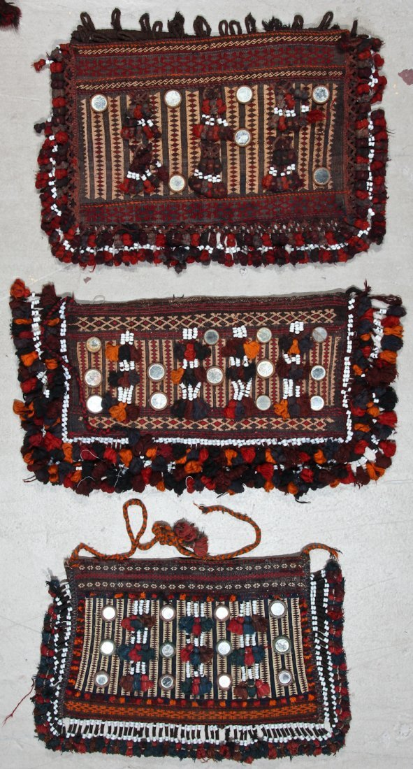 5 Old Afghan Kilim Trappings/Bags - 3