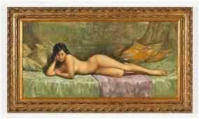 European School (20th c.) Reclining Nude Oil Painting