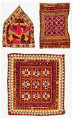 3 Old Fine Mirror Embroidered Indian Textiles