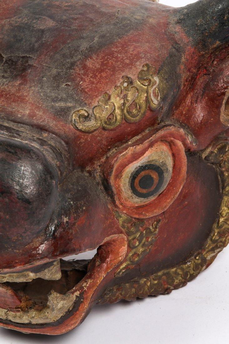Tibetan Yamantaka Red Bull Dance Mask - 4