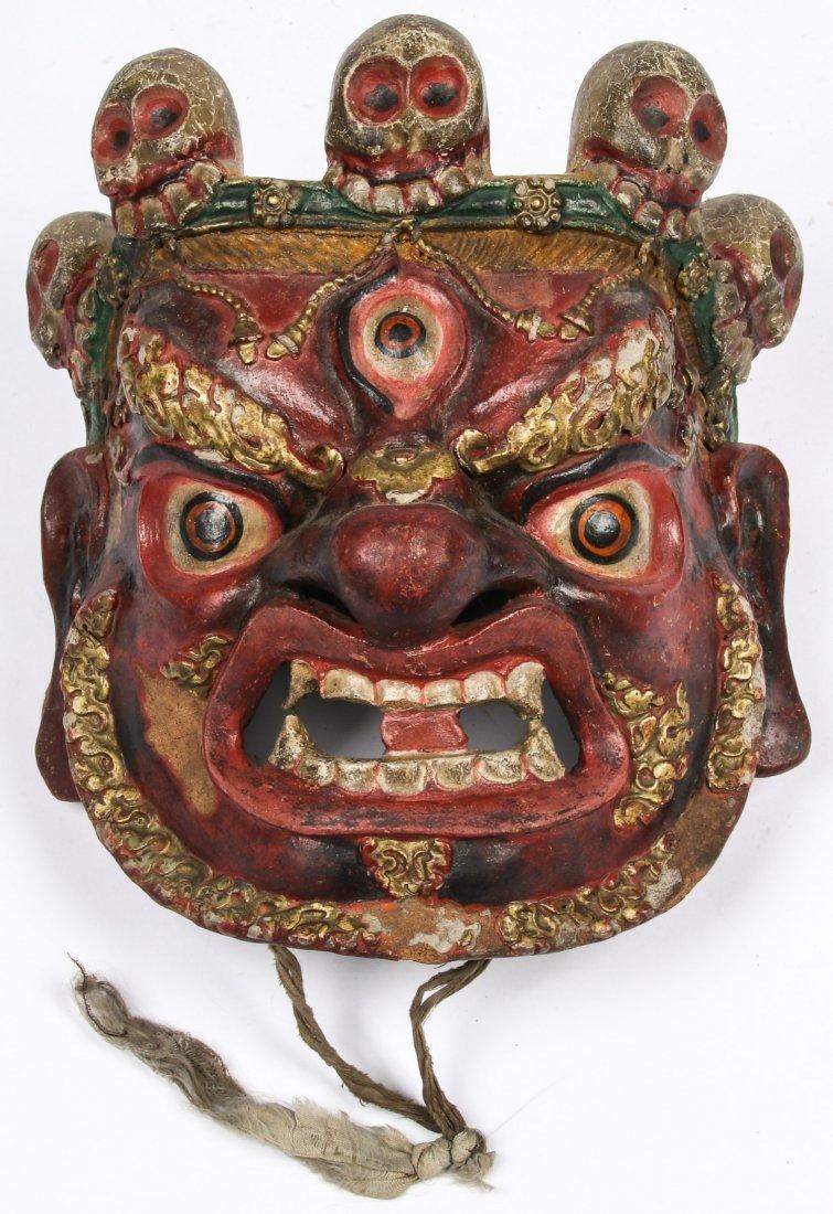 Tibetan Dharmapala Red Dance Mask
