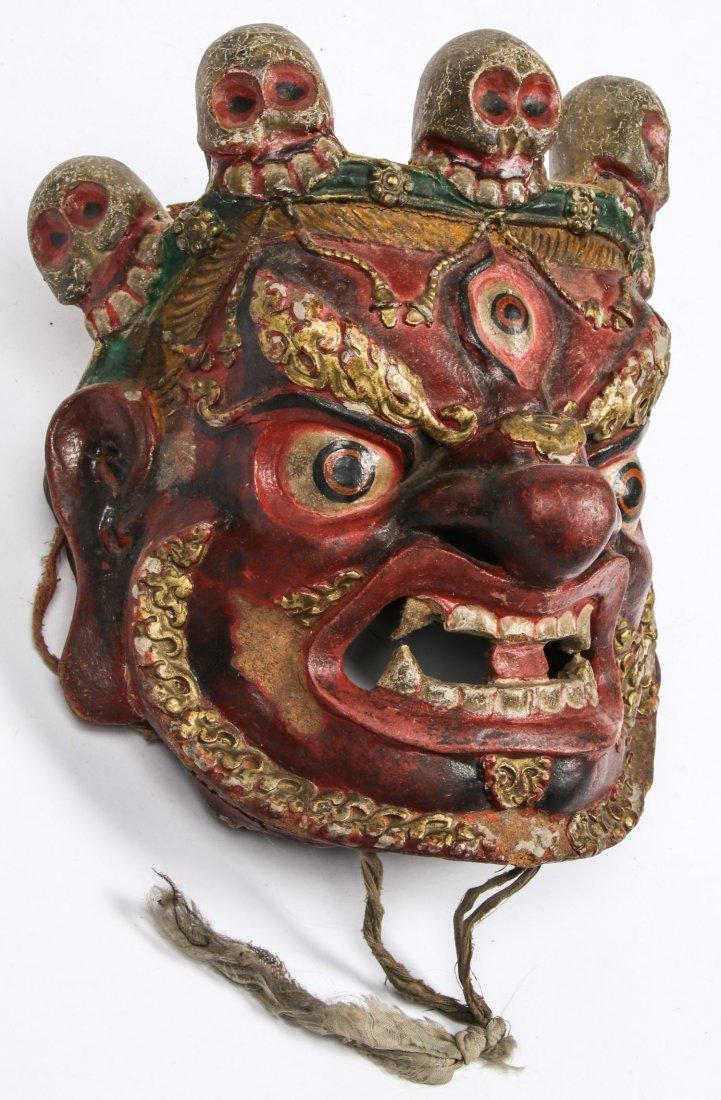 Tibetan Dharmapala Red Dance Mask - 2