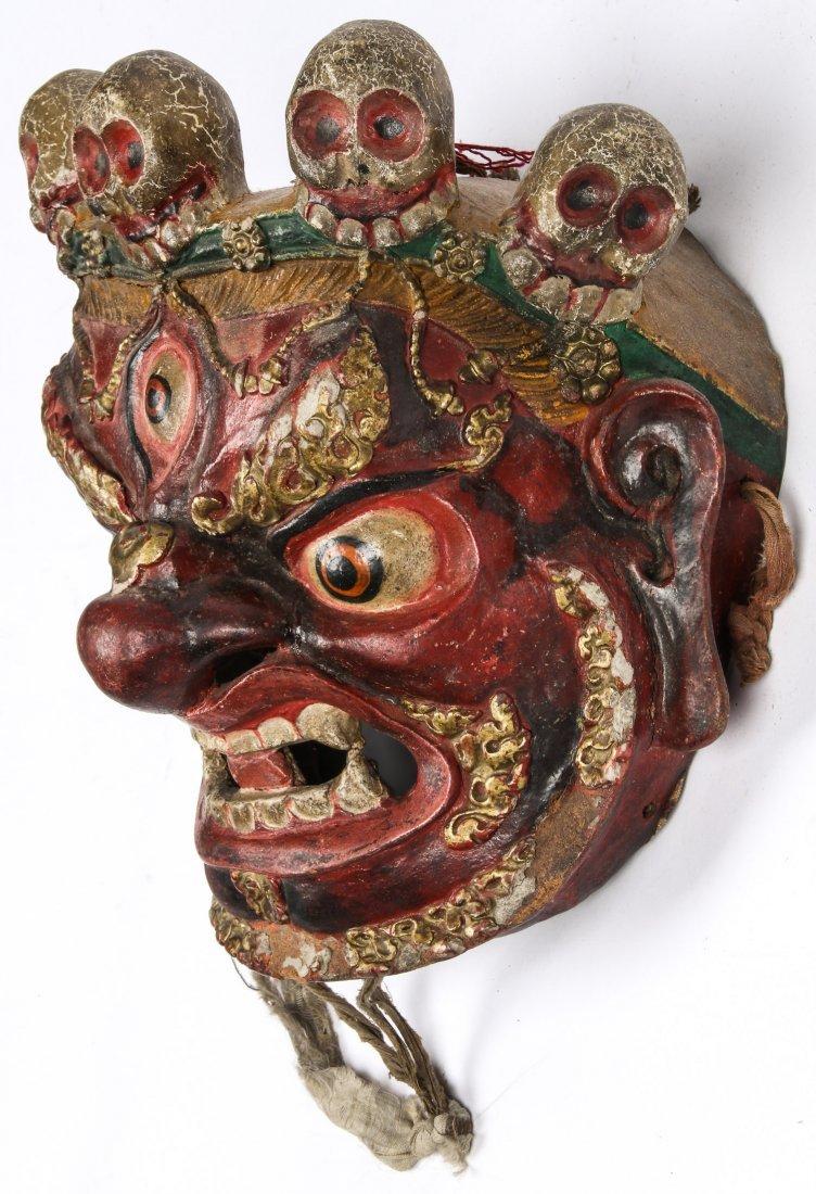 Tibetan Dharmapala Red Dance Mask - 3