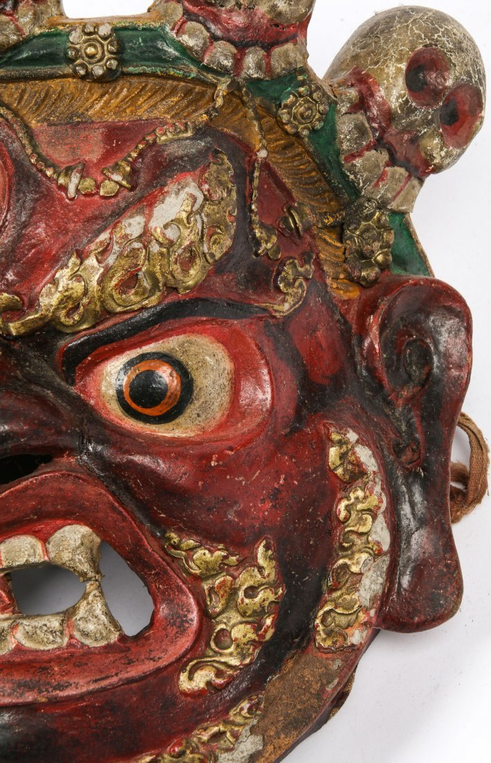 Tibetan Dharmapala Red Dance Mask - 4