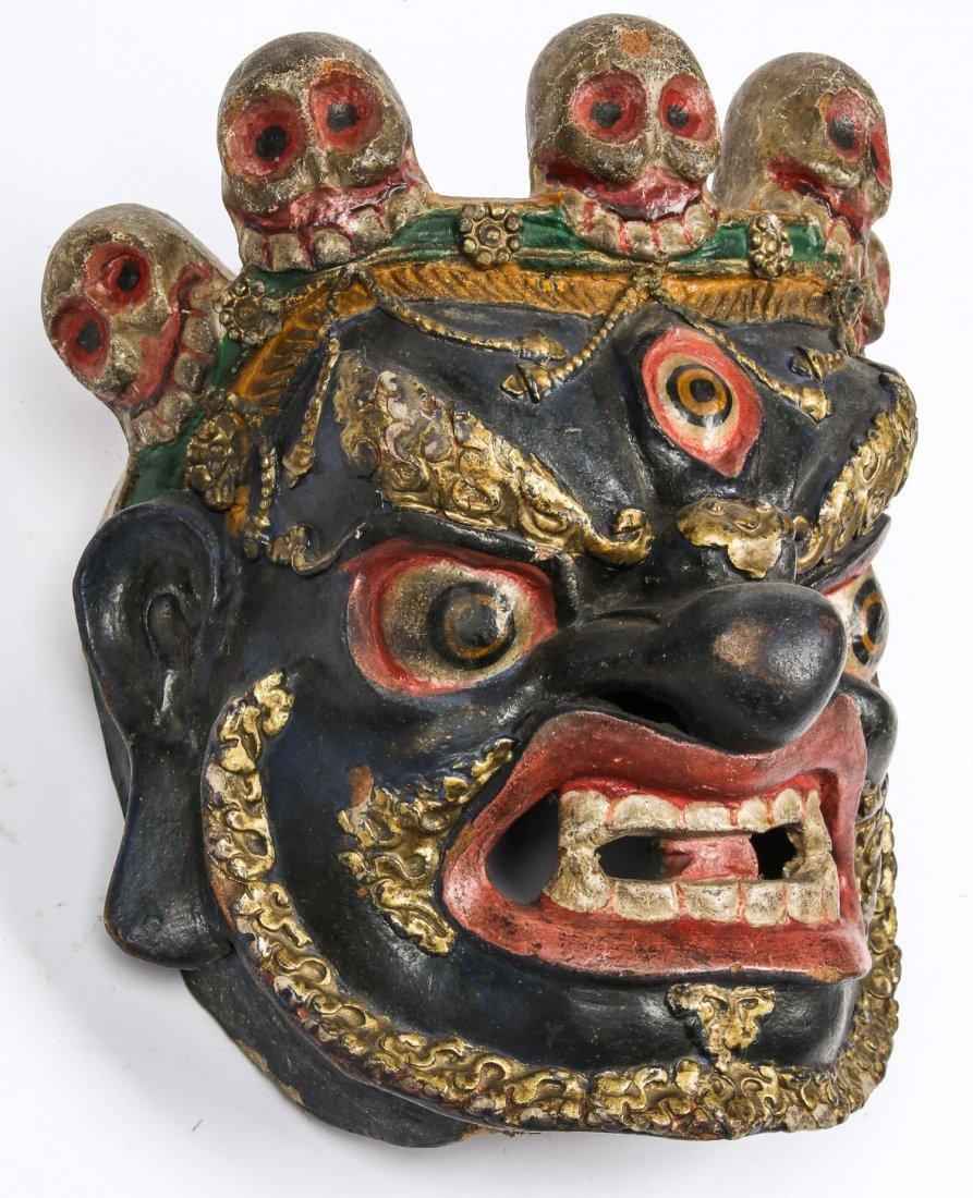 Tibetan Dharmapala Blue Dance Mask - 2
