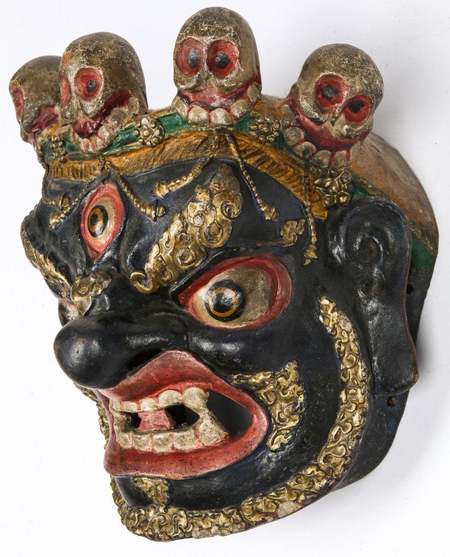 Tibetan Dharmapala Blue Dance Mask - 3