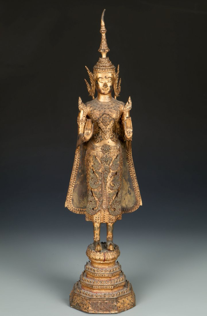 Tall Standing Thai Gilt Bronze Buddha, 18/19th C.