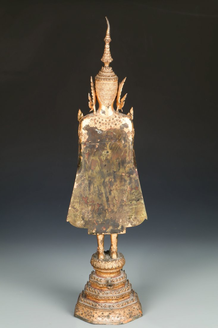 Tall Standing Thai Gilt Bronze Buddha, 18/19th C. - 2