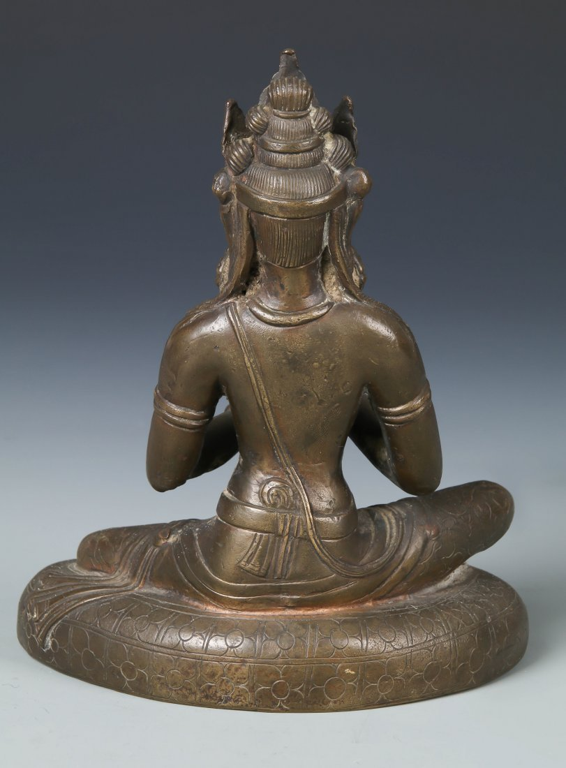 Old Chinese Bronze Seated Buddha - 3
