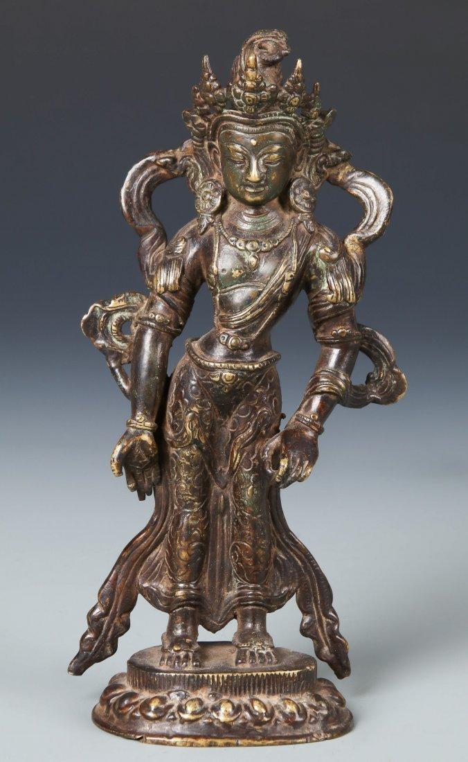 Old Chinese Bronze Standing Buddha