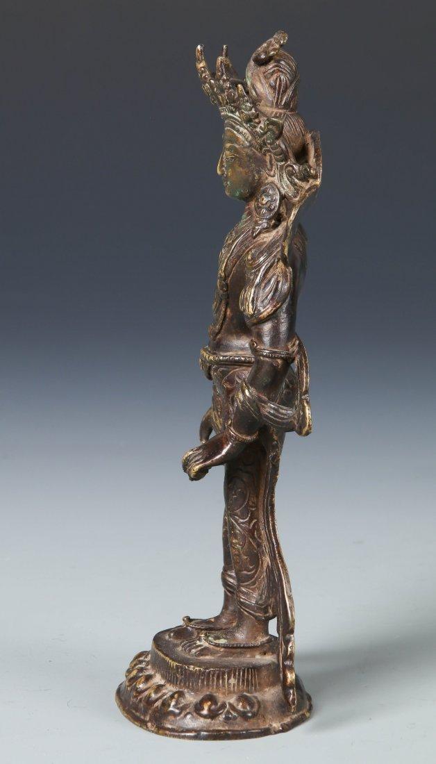 Old Chinese Bronze Standing Buddha - 2