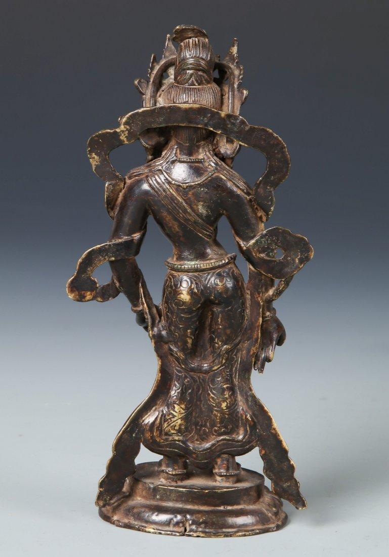 Old Chinese Bronze Standing Buddha - 3