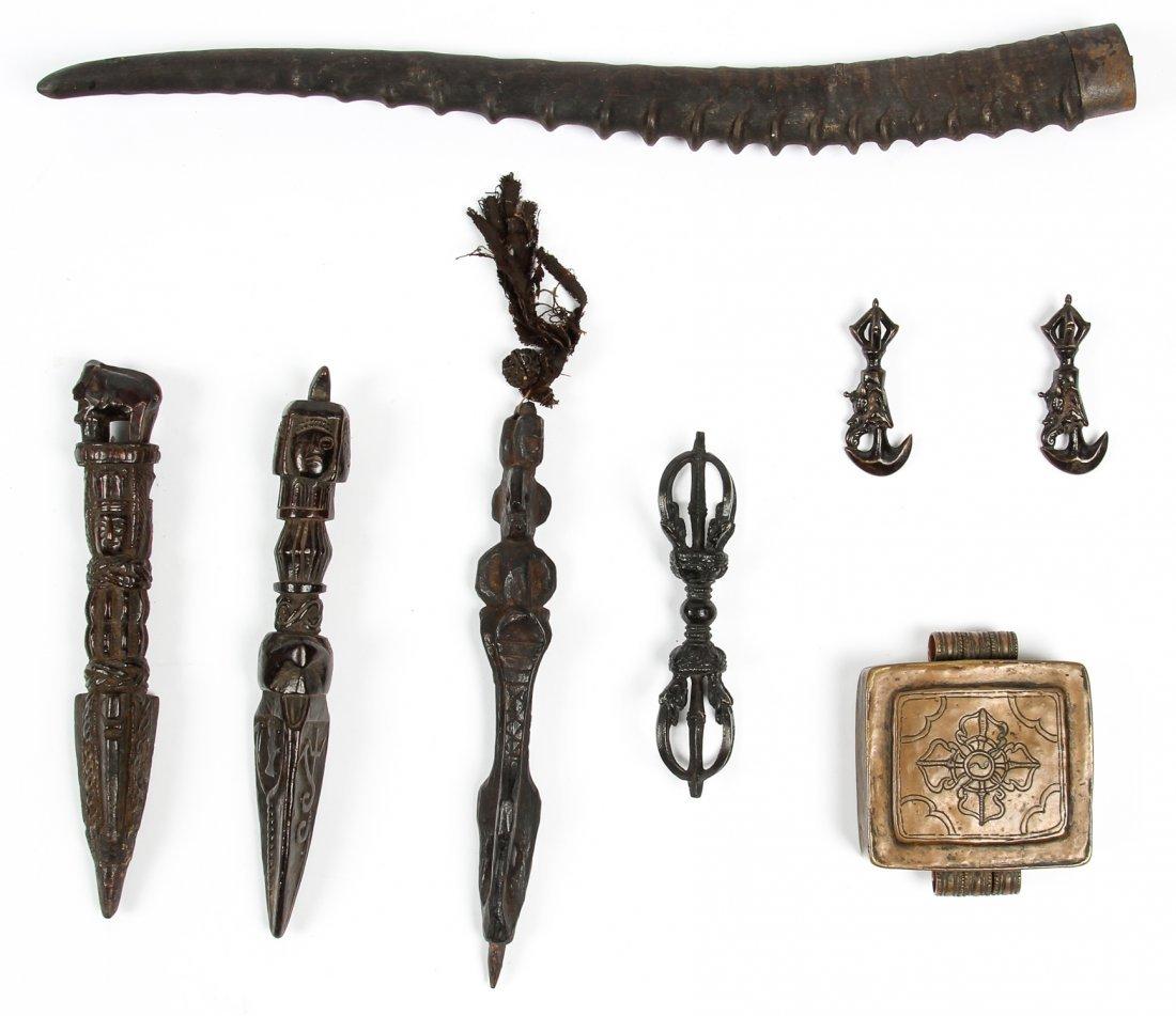 Group of Tibetan and Nepali Buddhist Artifacts
