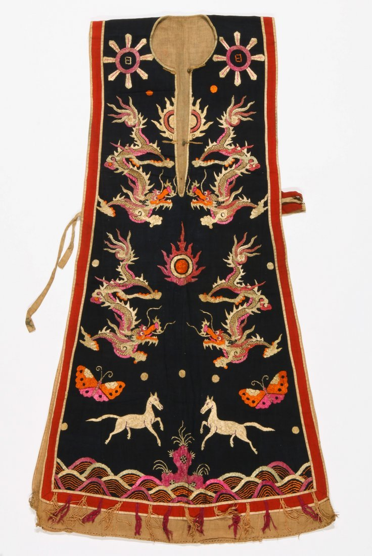Antique Dao Shaman Silk Embroidered Dragon Robe