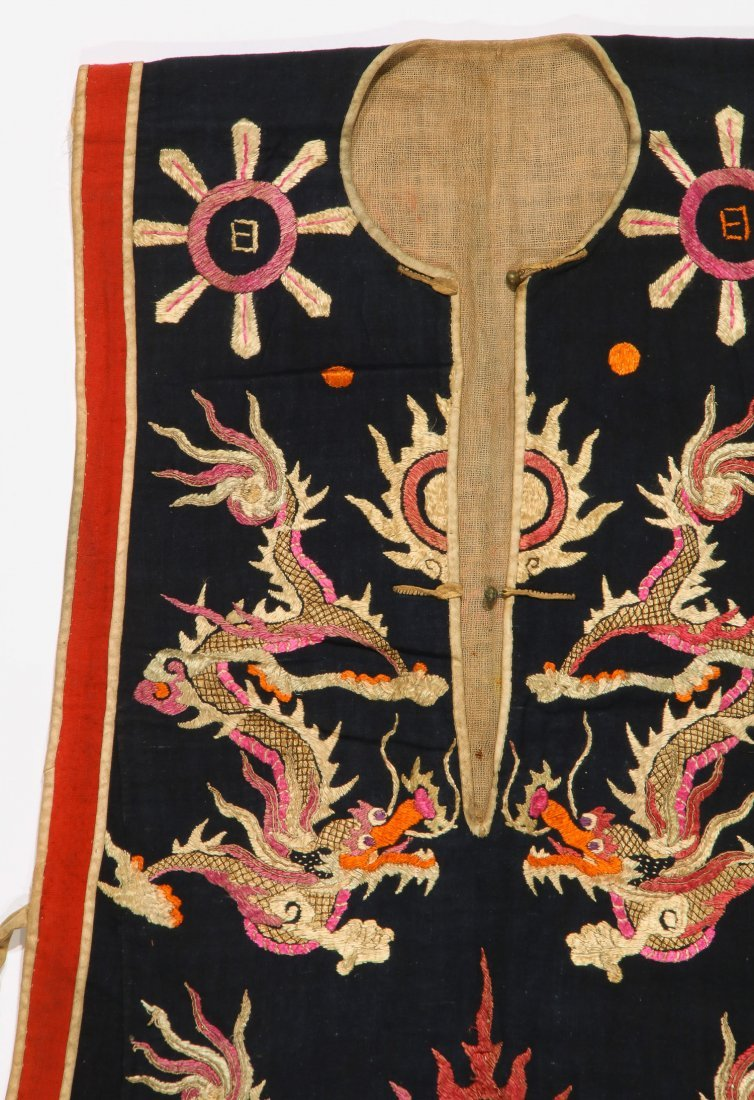 Antique Dao Shaman Silk Embroidered Dragon Robe - 2