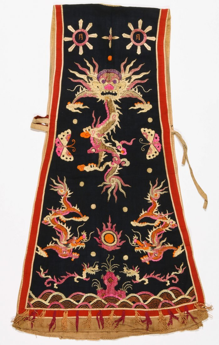Antique Dao Shaman Silk Embroidered Dragon Robe - 4