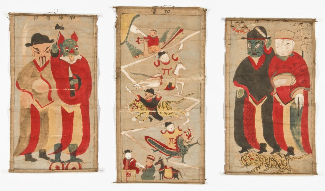 3 Antique Yao Ceremonial Scroll Paintings, South West