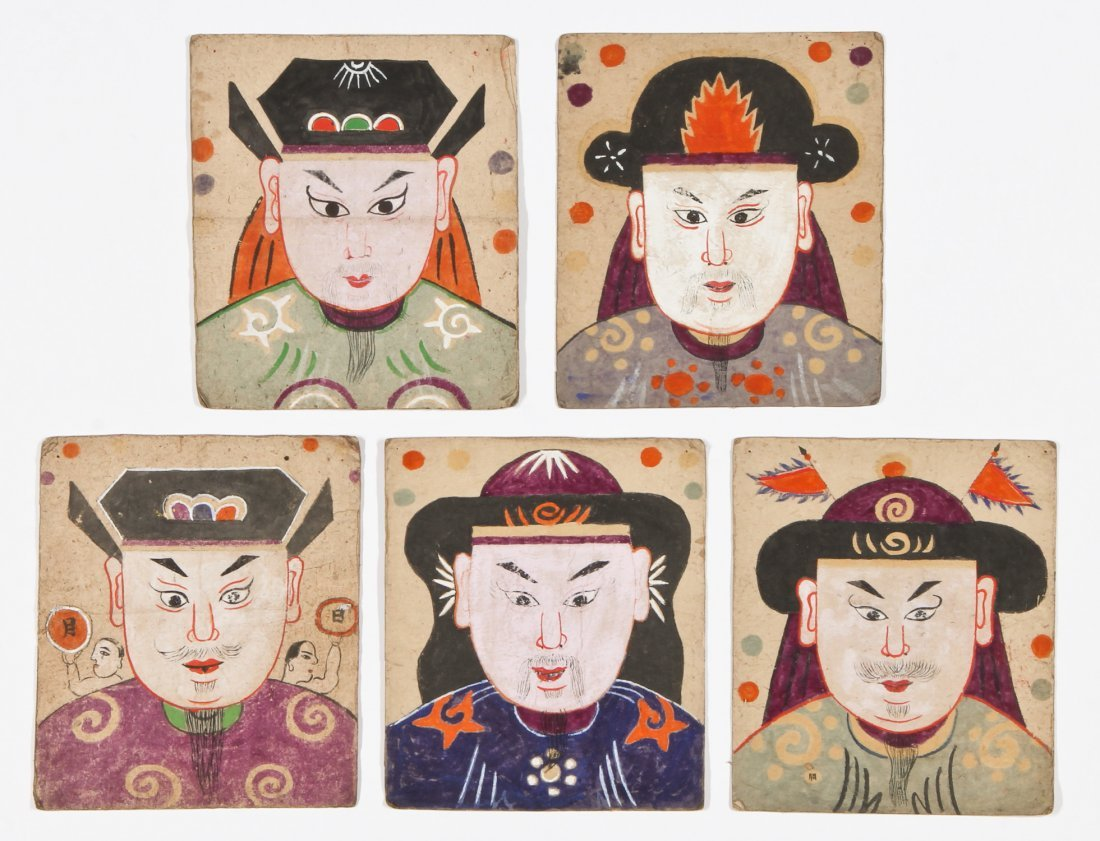 5 Paper Yao Priest Masks, South West China